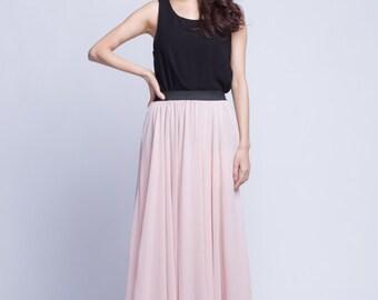 High Waist Bridal Skirt Chiffon Long Skirts Beautiful Elastic Waist Summer Skirt Floor Length Beach Skirt (101) ,25#