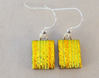 Yellow Gold Dichroic Fused Glass Dangle Earrings, Fused Glass, Fused Glass Earrings, Glass Earrings, Dichroic Earrings, Dichroic, Yellow