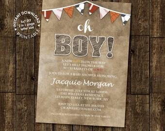 Sports Banner Boy Baby Shower Invitation Digital Printable PDF template, instant download, Edit with Adobe Reader DIY, All Star, MVP