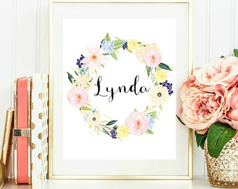 Custom Name Printable Floral Wreath Name Print Custom Name Print Personalized Nursery Art Print 8x10 Digital Download