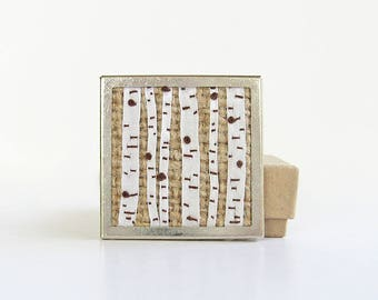 Birch trees brooch, silk ribbon embroidery, embroidered jewelry, embroidered birch trees, forest brooch, woodland pin, square unisex pin