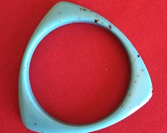 Turquoise blue acrylic bangle ttriangular shape