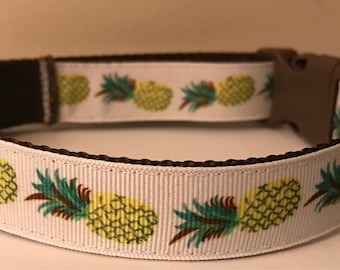 Large 1 inch Yellow and Brown Pineapple Summer Dog Collar