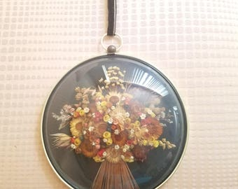 Vintage Cideart Dried Flower Art Wall Hanging Made in Belgium circular ready to hang framed dried floral Botanical convex glass