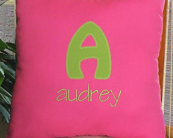 Monogrammed Pillow, Personalized Throw Pillow, Pink Pillow, Pink Home Decor