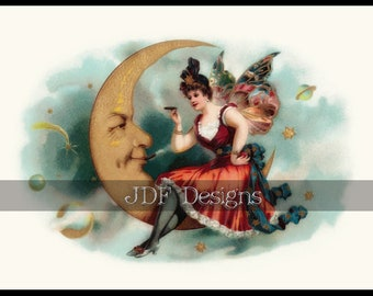 Instant Digital Download, Antique Victorian Graphic, Burlesque Fairy on Moon, Cigar Label, Vintage Fantasy Print, Printable Image, Butterfly