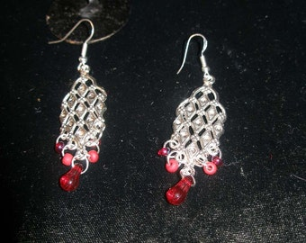 Earrings, abstract  silver hamsa  khamsa, red beads FREE 2nd item  SHIPPING  etsyBead, JudaicaonEtsy, OlympiaEtsy, WWWG, paganteam