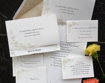 Romantic Shells Wedding Invitation Set - beach themed, destination, embossed shells, fan fold, pearl embossed  - AV639