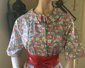 Vintage 1960s Floral Cotton Dress Pink Green Blue Flowers-Shirt Dress Button Up Floral-Plus Size Dress 18 20-Knee Length Dress