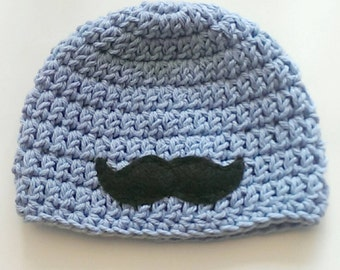 crochet mustache beanie - knit mustache hat - mustache hat - handmade knit mustache cap - newborn mustache hat - knit cap - photography prop