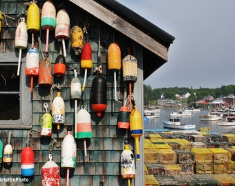Buoy Shack Colorful Buoys Collection Lobster Traps Bass Harbor Nautical Fine Art Photography