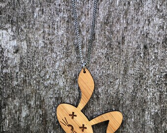 Laser cut dead rabbit  bamboo necklace