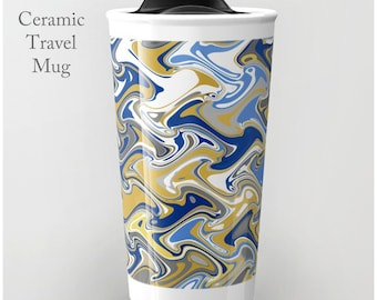 Quirky Coffee Mug-Ceramic Travel Mug-Travel Mug-Coffee Tumbler-Ceramic Mug-12 oz Mug-To Go Mug-Insulated Coffee Mug-Insulated Travel Mug