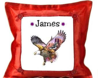 Red cushion Eagle and Indian design personalized with name