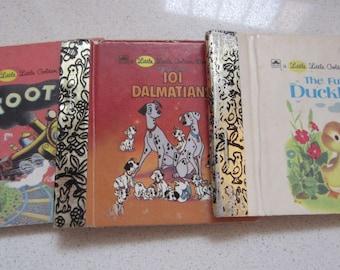 Set of 3 Little Little Golden Book 1980's Children's Classics: Tootle, The Fuzzy Duckling, 101 Dalmatians