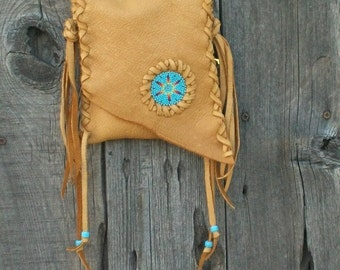 Leather phone bag , Beaded crossbody handbag , Fringed leather purse . Leather handbag