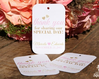 Thank You for sharing our special day! Tags, Perfect for Wedding Favors,Bridal Shower, Sanitizers, Hearts, Love, Elegant