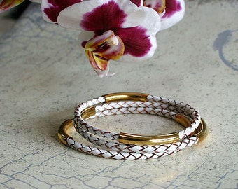 2 New Leather Bangle Bracelets with Gold or Silver Tubes Braided Cord