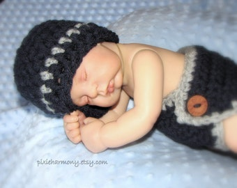 Baby Boy DIAPER Cover and Beanie - Navy Blue and Gray - Newborn Photo Prop - Made to ORDER- ANY Color - Reborn Doll Clothes