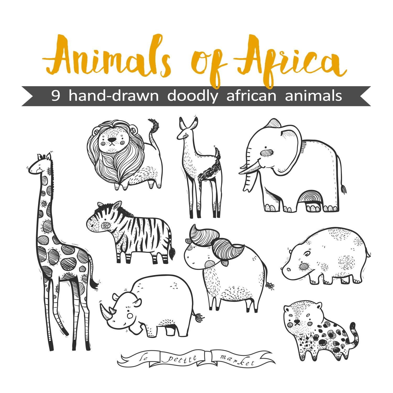 Mano dibuja lindo animales de África gráfico Ilustración, hoja hoja ...