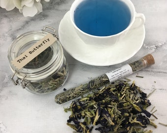 Thai Butterfly Blue Pea Flower Lemongrass Loose Leaf Tea in Glass Hermes Clamp Jar or Pouch No Caffeine