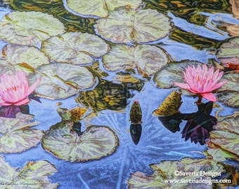 Water lily giclee print, pond water lilies, lotus flower art, pond decor, garden art print, pond lily, pink floral wall art, water garden