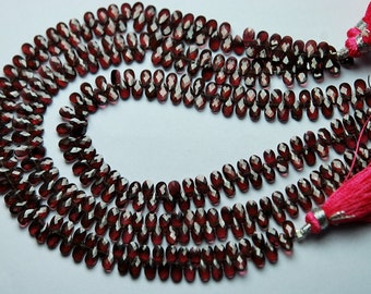 8 Inch Strand,Super Finest Quality,Mozambique Garnet Best Quality Faceted Pear Briolettes,3x5mm