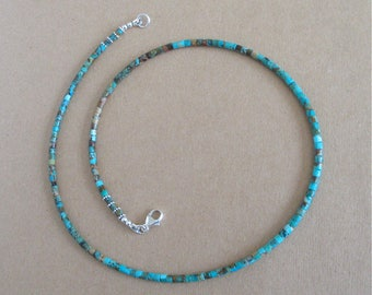 Kingman Boulder Turquoise Heishi Necklace 21 inches - 3mm Heishi Beads - Classic Southwest Jewelry for Men and Women - Arizona Turquoise