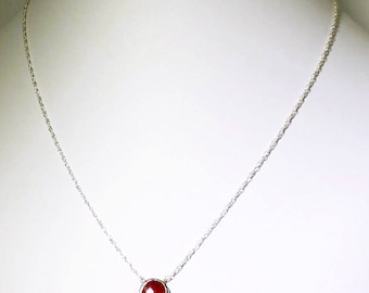 Red Ruby Necklace Sterling Silver Adjustable Necklace Genuine Ruby July Birthstone Precious Ruby Necklace Ruby Jewelry BZ-P-105.2-Ruby/s