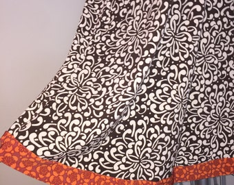 Swing Top - Dress Rich brown with orange trim