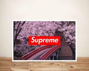 Supreme Poster - Supreme Print - Cherry Blossom Supreme Poster Supreme gift