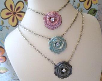 Flower Necklace, Rose Necklace, Handmade Polymer Clay Rose Necklace, Pink Rose Necklace, Light Teal Rose Necklace, Gray Rose Necklace, OOAK