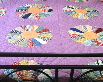 Vintage Quilt - 82 x 65 - Dresden Plate - Signed 1938 - Hand Quilted, Hand pieced, and Hand Hemmed