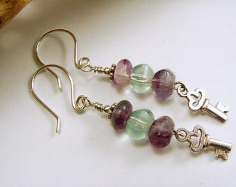 Sterling Silver, Rainbow Flourite and Key Dangle Earrings