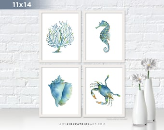 Blue Sealife Paintings, Pick One 11x14 Print, Blue Coral Print, Blue Seahorse Print, Blue Conch Shell Print, Blue Crab Print, Blue Wall Art