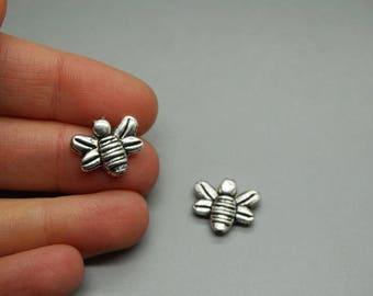 SET of 3 beads (U37) silver honey bee