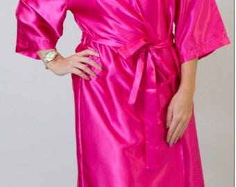 FOUR or more Fuscia Pink satin Dressing Gown. Bride/Bridesmaid Robe weddings. Christmas gift. Buy in bulk for discounts.
