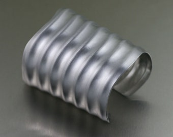 Brushed Aluminum Wave Cuff  - Handmade Aluminum Cuff --- Makes a Beautiful 10th Wedding Anniversary Gift from John S Brana Handmade Jewelry