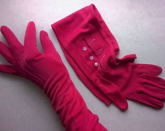 Crimson red formal evening gloves above elbow length with pearly buttons inside wrist, vintage 1950s size 6 1/2