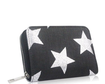 Star Print Small Zip Coin Wallet Card,Photo Holder Purse Pouch