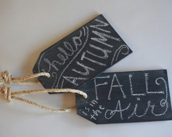 Set of Rustic Wood Chalkboard Gift Tags- Wreath, Wall or Gift Box Decoration- Great for all Seasons! Christmas Tree Ornaments