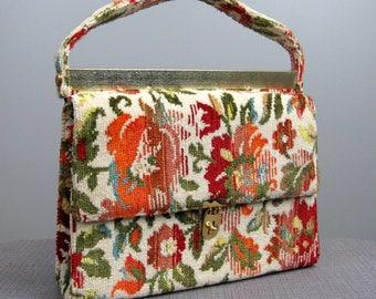 Vintage 1960s Carpet Bag 60s Large Floral Tapestry Purse