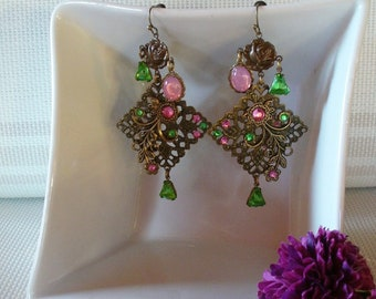Bronze, pink and green earrings