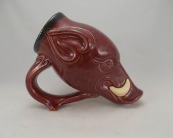 Wild Boar Drinking Horn Beer Mug, Razorback Hog Mug, Sculpture Art , Bar Drinkware,