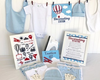 Little Traveler Baby Bodysuit Decorating Kit   DIY Baby Shower Activity   Hot Air Balloon   Up Up and Away   Vintage Travel