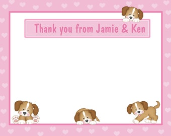 20 Personalized Baby Shower Thank You Cards - Pink PUPPY DOG