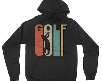 Retro 1970's Style Golfer Golfing Golf Sports Hoodie