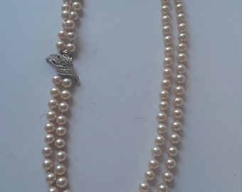 Vintage Double Strand Faux Pearl Necklace with Rhinestone Clasp