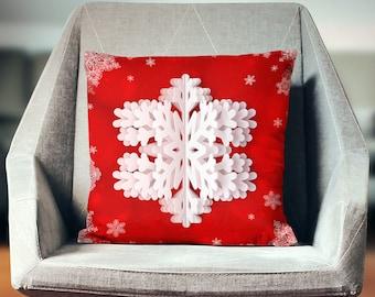 Snowflake Pillow | Snowflake Decor | Snowflake Decoration | Holiday Pillows | Festive Decor | Christmas Decor | Snowflake Cushion