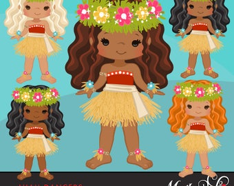 Luau Clipart, Luau Dancers, Hawaii tropical, hula girls, island birthday party, Cute straw skirt, summer graphics, african american, native